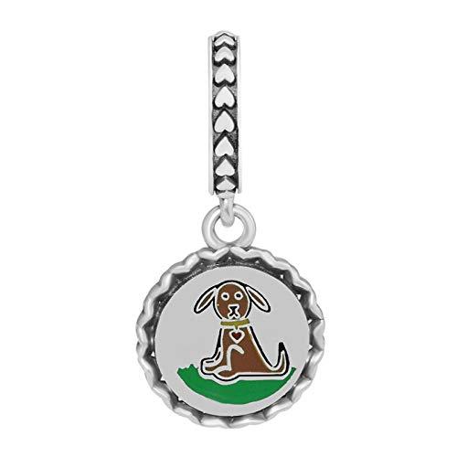 LILIANG DIY Figura De Palo De Perro Dijes Colgantes para Pulseras De Cadena Esmalte Mixto Plata De Ley 925 Dijes De Cachorro para Mascotas Familiares para Hacer Joyas