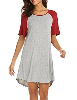 Ekouaer Womens Nightshirts Viscose Chemises Slip Long Nightgown Sleepwear,(Short Sleeve)wine Red,Small