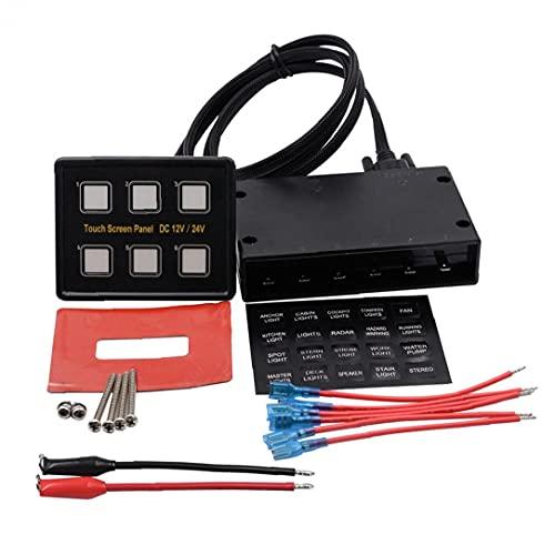 Cerrar el panel del interruptor de voltímetro Panel de combinación 6 Panel de interruptores de rockero de pandillas 12V / 24V para barco de automóvil accesorios interior universal