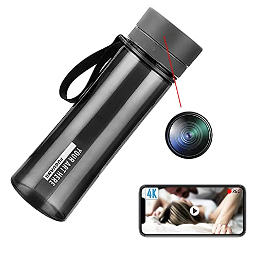 GEQWE Mini Telecamera Spia con Bottiglia d'Acqua, Telecamere Nascoste Full HD 1080P, con Registrazione, Telecamera Spia per Tata con Rilevamento del Movimento, per Esterni/Interni