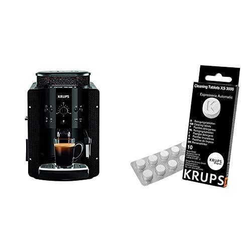 Krups EA8108 CAFETERAS, 1450 W, 1 Cups, Acero Inoxidable, Negro + Espresseria Automatic Pastillas limpiadoras para maquinas de café, Blanco