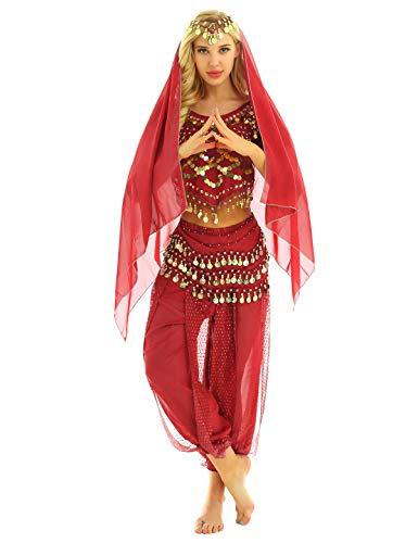 inhzoy Vestido Danza del Vientre para Mujer Disfraz de Princesa Árabe Traje de Baile India Lentejuelas Conjunto de Danza Oriental 4Pcs para Fiesta Actuación Rojo One Size