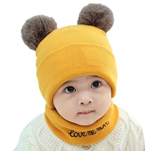 E-House Populaire Hoed 2 Stks Baby Pasgeboren Pompom Bal Winter Warm Gehaakte Gebreide Hoed Beanie Cap Sjaal Set - Blauw Geel