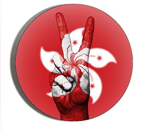 Generic Gifts & Gadgets Co Abzeichen, Hongkong-Flagge, Peace-Hand-Schild, 25 mm, Schmetterlings-Anstecknadel