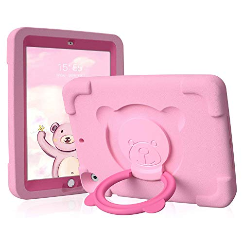PZOZ iPad Kids Case Compatible for iPad 7th & 8th Generation 10.2 in, EVA Shockproof Rotate Handle Folding Stand Heavy Duty Protective Cute Cover for Boys Girls (Pink)