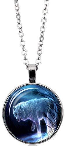 Merchandise for Fans Halskette mit Anhänger/Silberschmuck/Indianerschmuck. Farbe: Silber, Motiv: Wolf nachtleuchtend, fluoreszierend (01)