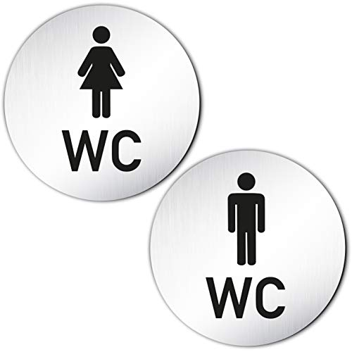 Kinekt3d Leitsysteme XXL WC Toilettenschilder Set aus 1,5 mm Aluminium Vollmaterial Ø100 mm • Türschild Klo Schild Damen + Herren/Mann + Frau • 100% Made in Germany! (Variante B)