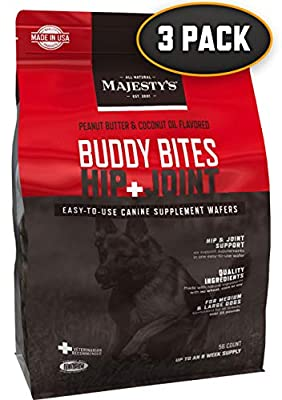 Majesty's Hip+Joint Buddy Bites - Medium/Large Dog - Bone/Joint/Cartilage Support Supplement - Peanut Butter/Coconut Oil Flavored - Glucosamine, Chondroitin - 6 Month Supply (3 Bags/168 Count)