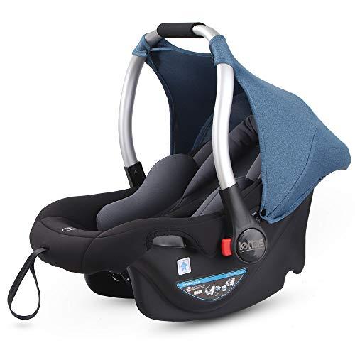 LETTAS Asiento de coche, grupo 0+ Silla para bebé de coche (de 0 a 13 kg, 0-15 meses) con sistema de arnés de 3 puntos, ligero homologada R44/04