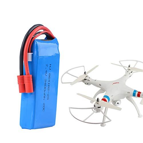 Jasinto 7.4V 3400mAH Upgrade Lithium Batterie, Lipo Batterie mit T Stecker, Leichte tragbare Drohnen Ersatzbatterie Kompatibel mit RC-Modell der Syma X8C / X8W / X8G / X8HG-Drohne
