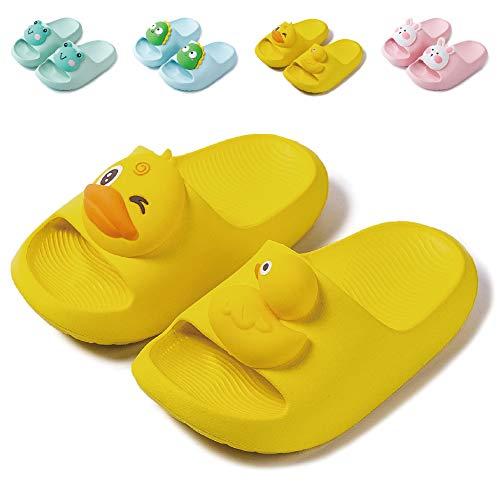 Badelatschen Kinder Dusch Badeschuhe Jungen Mädchen Leicht Anti-rutsch Flache Sommer Hausschuhe Sandalen für Kleinkinder Gelb 26/27 (Etikettengröße 180mm)