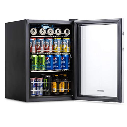 NewAir AB-850 Beverage Cooler and Refrigerator, Small Mini Fridge with Glass Door, Perfect for Soda Beer or Wine, 90-Can Capacity, Stainless Steel