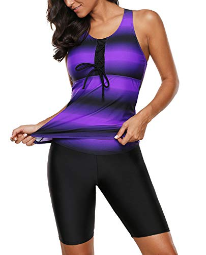 Grace's Secret Womens Ombre Print Racerback Tankini Swimsuits Bathing Suits for Women Two Piece Set