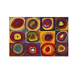 Wassily Kandinsky – Cuadros de estudio de color con círculos concéntricos Arte abstracto expresionismo Póster decorativo lienzo para pared arte sala de estar carteles pintura dormitorio 40 x 60 cm