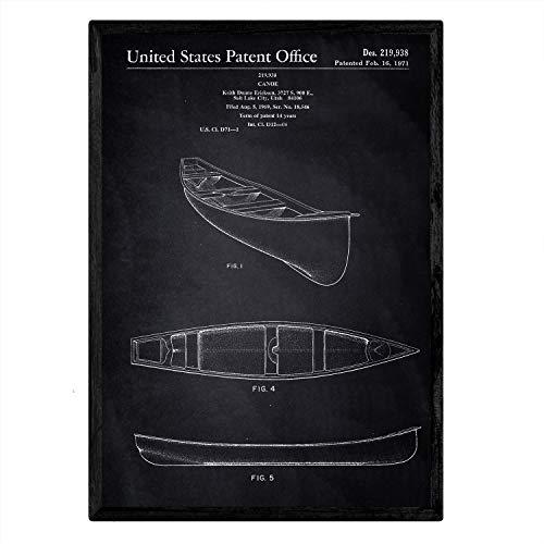 Nacnic Patent Poster Kayak 1. Folie mit Alten Design-Patent in der Größe A3 mit schwarzem Hintergrund