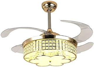 KASHUQIAN práctico Colgante Cubierta de Techo L Ventilador de Cristal Invisible LED de la lámpara de Inicio Salón Dormitorio de frecuencia Variable luz de Techo Ventilador con Mando a Distancia, ta