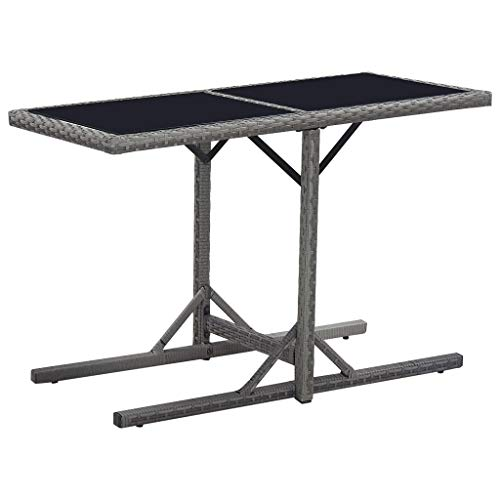 vidaXL Garden Table Dining Room Kitchen Folding Desk Home Balcony Terrace Bistro Cafe Stand Black 110cm Glass and Poly Rattan