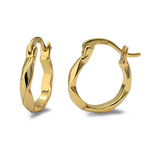 WILD SUN Goldene Hexagon Creolen Damen Ø 13mm | Kleine Kreolen Geometrisch für Frauen | Hochwertige Huggie Hoops Ohrringe Klein Eckig aus 925 Silber mit 18K Gold vergoldet