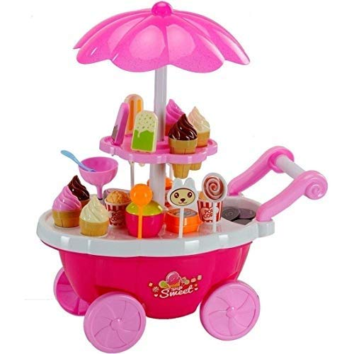 smartcraft Ice Cream Kitchen Play Cart Set Toy with Lights and Music (Multicolour, Small)