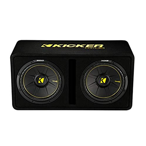 Kicker 44DCWC122 CompC Dual 12-Inch 1200 Watt Single 2 Ohm Terminal Vented Loaded Compact Vented Loaded Subwoofer Enclosure for Trunks or SUV, Black
