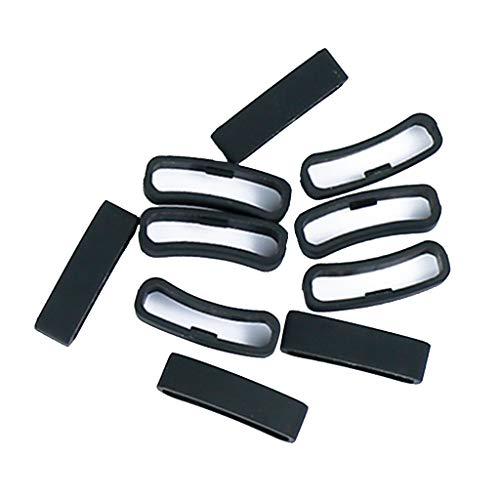 IPOTCH Reemplazo De Sujetador De Bucle De Anillo De Cierre De Silicona De 10 Piezas para La Serie SUUNTO - Negro 1, 24mm