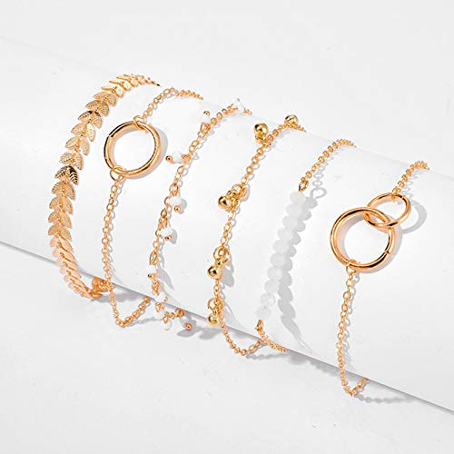 Set of 6 White Pearl Circle Flower Arrow Leaf Pendant Bracelets for Women Girls Elegant Jewellery Wedding Birthday Gift