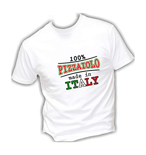 Social Crazy T-Shirt Uomo Cotone Basic Super vestibilità Top qualità - PIZZAIOLO Made in Italy Divertente Humor Made in Italy (M, Bianca)