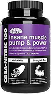 Gains in Bulk, Crea Nitric 100, Muscle Support Creatine Nitrate Supplement, 100 Vegetarian Capsules