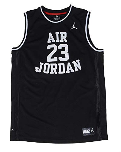 Nike Air Jordan Little Boys' Youth Classic Mesh Jersey Shirt (7, Black/White)