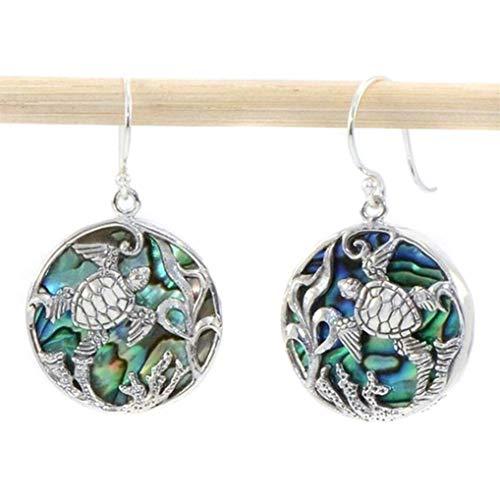 Timesuper Blue Handmade Gemstone Earrings Carved Abalone Shell Round Ear Hook Earrings for Women Wedding Party Gift