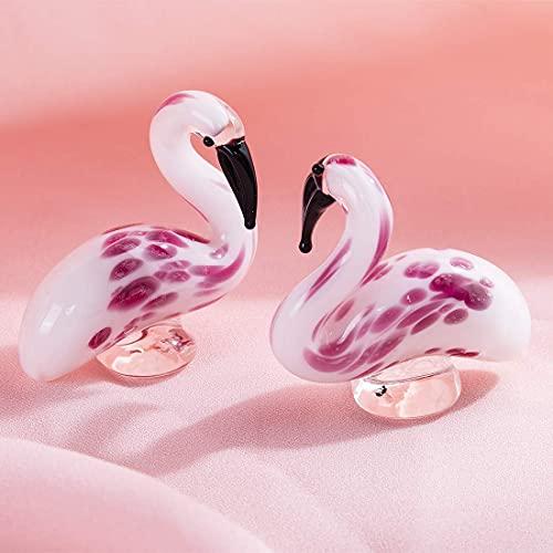 Crystalsuncatcher Glass Flamingos Figurine - Blown Art Glass Sculpture Ornament - Animal Figurine Modern Home Decoration 2PCS/Set