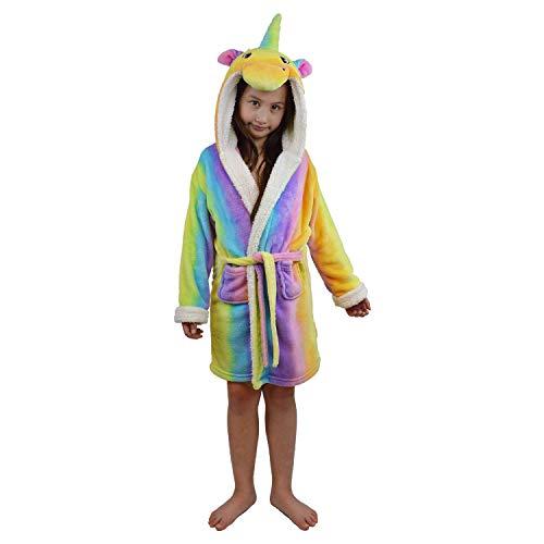 Best Home & Baby - Albornoz con capucha para niñas, diseño de unicornio 3D Multicolor Arco Iris 120 cm(5-6 años)