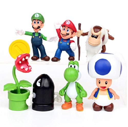 Super Mario Toys – Set of 7 Mario Figures– Mario Action Figures with Movable Heads and Arms – Mario Playset for Playing or Decoration – 3-inch Super Mario Figures