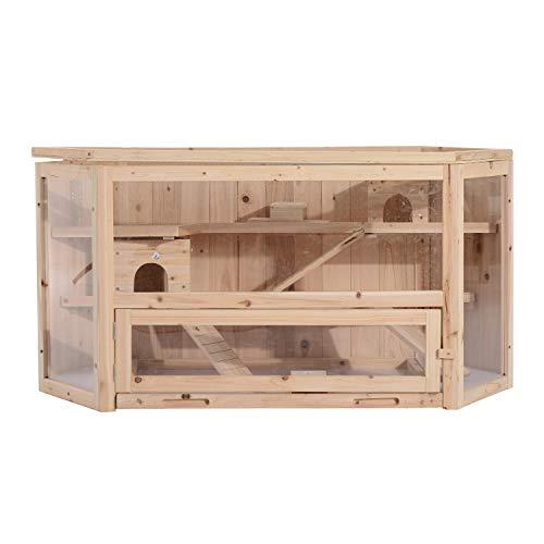 Pawhut Jaula Madera para Hámster Ratoncillos Roedores Casa para Animales Pequeños 3 Niveles 115x60x58cm