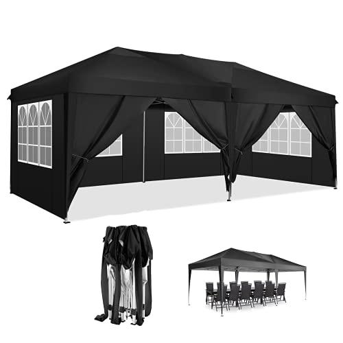 3x6 Pavillon Wasserdicht Pop up Faltpavillon Pavillon mit 4 Seitenteilen Faltbar Zelt Robuster Pavillon(Schwarz, 3x6m)