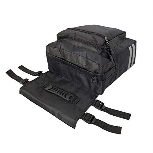 SIWEI - Bolsa para bicicleta de camuflaje, impermeable, para asiento trasero de bicicleta, con rayas reflectantes, para uso al aire libre, Q053Y7035709B, negro