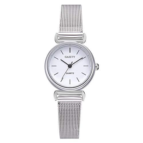 Orologio da donna, orologio da polso rotondo con quadrante tondo di qualità a 2 colori, cinturino regolabile in lega per donna(Bianco)