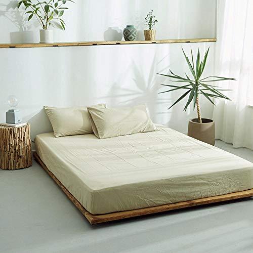 DSman Protector de colchón/Cubre colchón Acolchado, antiácaros, Sábana de algodón de una Sola Pieza Color sólido-6_150 * 200cm