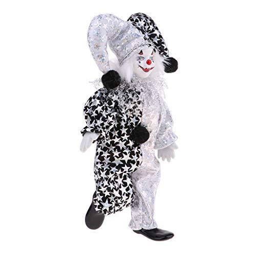 perfeclan Handgemachte Halloween Clown Kostüm Porzellanpuppe aus Keramik, Tischsdeko Souvenirs Sammlung Geschenke - # 9, 23 cm