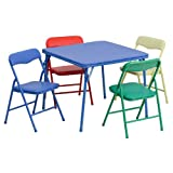 Flash Furniture Kids Colorful 5 Piece Folding Table and...
