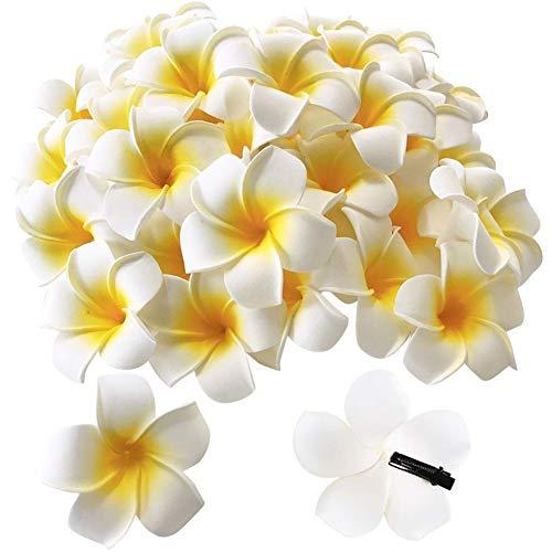 Pursuestar 50Pcs 2.4' White Foam Hawaiian Frangipani Artificial Plumeria Flower Hat Hair Clips for Home Wedding Party Beach Vacation Decoration