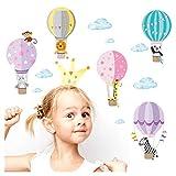 Little Deco Wandaufkleber Kinderzimmer Ballon Tiere Mädchen I 2 A4 Bögen I Wandtattoo Heißluftballon Wandsticker Babyzimmer Elefant Tiere Affen DL214-2