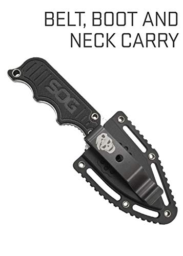 Product Image 1: SOG Small Fixed Blade Knives – Instinct Mini 1.9 Inch Full Tang Belt Knife and Boot Knife w/Tactical Knife Sheath and Neck Knife Chain (NB1002-CP)