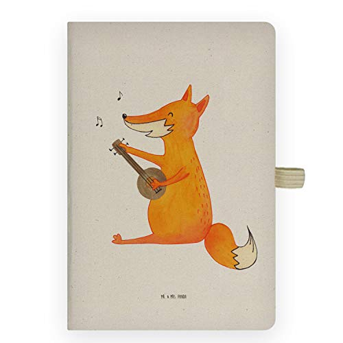 Mr. & Mrs. Panda Schreibheft, Schreibbuch, DIN A5 Baumwoll Notizbuch Fuchs Gitarre - Farbe Transparent
