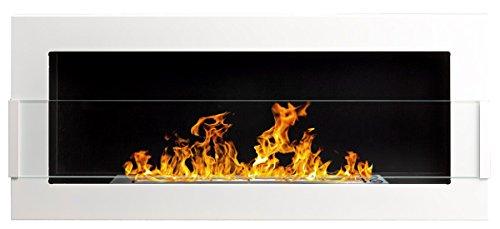 900x400 mm Gelkamin Bio-Ethanolkamin Biokamin Wandkamin weiß + Glasscheibe inkl. Halterung (TÜV - Rheinland geprüft)
