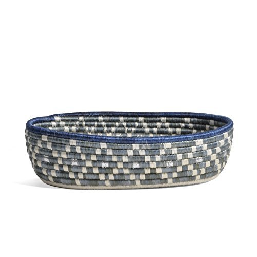 All Across Africa Handwoven Oval Bread Basket, Blue Night with Metallic Silver