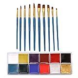 joyMerit 12 Colores, Pinturas para El Cuerpo, Pintura Lavable, Conjunto de Maquillaje Artístico con Pinceles 10x