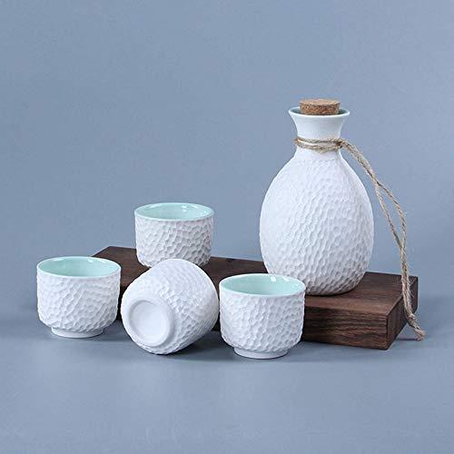 Juego de Sake, 5 Piezas, Tradicional Japonesa, Hecha a Mano, de cerámica, Copa de Vino, Porcelana, cerámica, Botella de Sake, decoración del hogar, Manualidades, Blanco