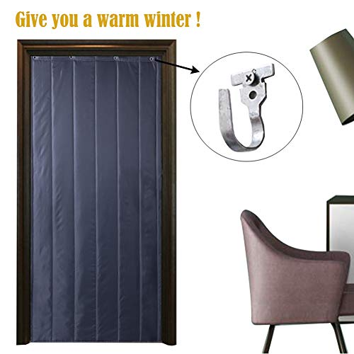 Thermal Insulated Door Curtain Air-conditioning Heater Room Kitchen Electromagnetic Curtain Keep Winter Warm Automatic Closer Garage Screen Doors, 42 Sizes Lsxiao (Color : Gray, Size : 85×190cm)