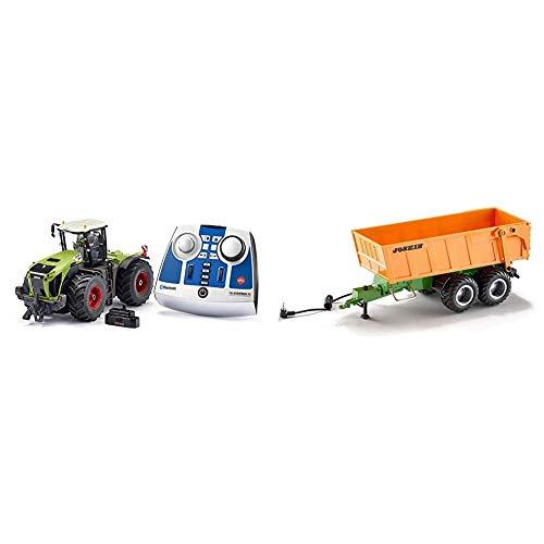 siku 6794, Claas Xerion 5000 TRAC VC Traktor, Grün, Metall/Kunststoff, 1:32, Ferngesteuert & Tandem-Achs-Anhänger, 1:32, Fernsteuerbar, Für SIKU Control Fahrzeuge mit Anhängerkupplung, Orange